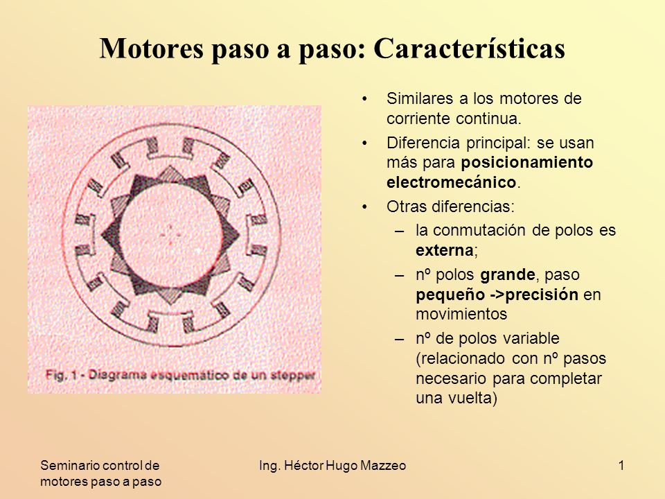 Seminario control de motores paso a paso Ing. Héctor Hugo Mazzeo1 Motores paso a paso: Características Similares a los motores de corriente continua.