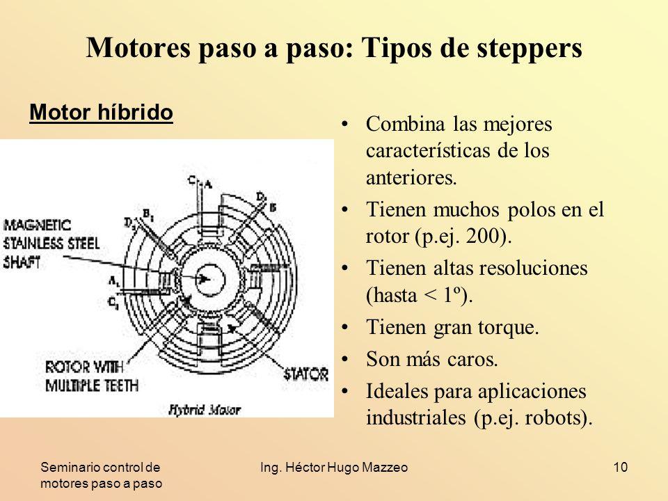 Seminario control de motores paso a paso Ing. Héctor Hugo Mazzeo10 Motores paso a paso: Tipos de steppers Combina las mejores características de los a