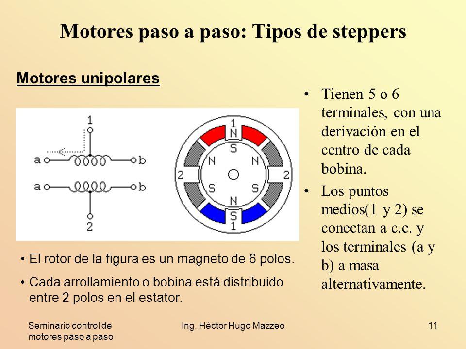 Seminario control de motores paso a paso Ing. Héctor Hugo Mazzeo11 Motores paso a paso: Tipos de steppers Tienen 5 o 6 terminales, con una derivación