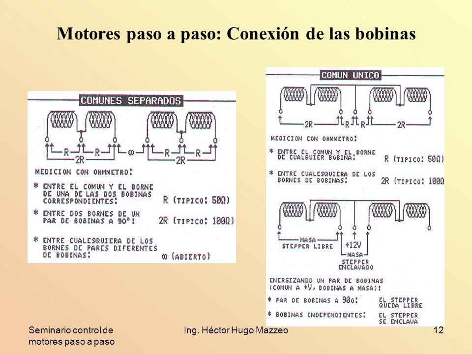 Seminario control de motores paso a paso Ing. Héctor Hugo Mazzeo12 Motores paso a paso: Conexión de las bobinas