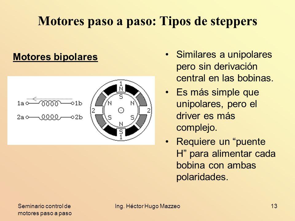 Seminario control de motores paso a paso Ing. Héctor Hugo Mazzeo13 Motores paso a paso: Tipos de steppers Similares a unipolares pero sin derivación c