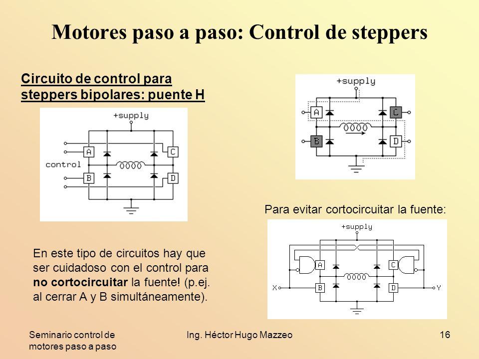 Seminario control de motores paso a paso Ing. Héctor Hugo Mazzeo16 Motores paso a paso: Control de steppers Circuito de control para steppers bipolare