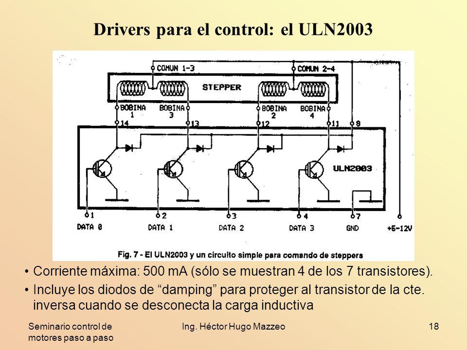 Seminario control de motores paso a paso Ing. Héctor Hugo Mazzeo18 Drivers para el control: el ULN2003 Corriente máxima: 500 mA (sólo se muestran 4 de