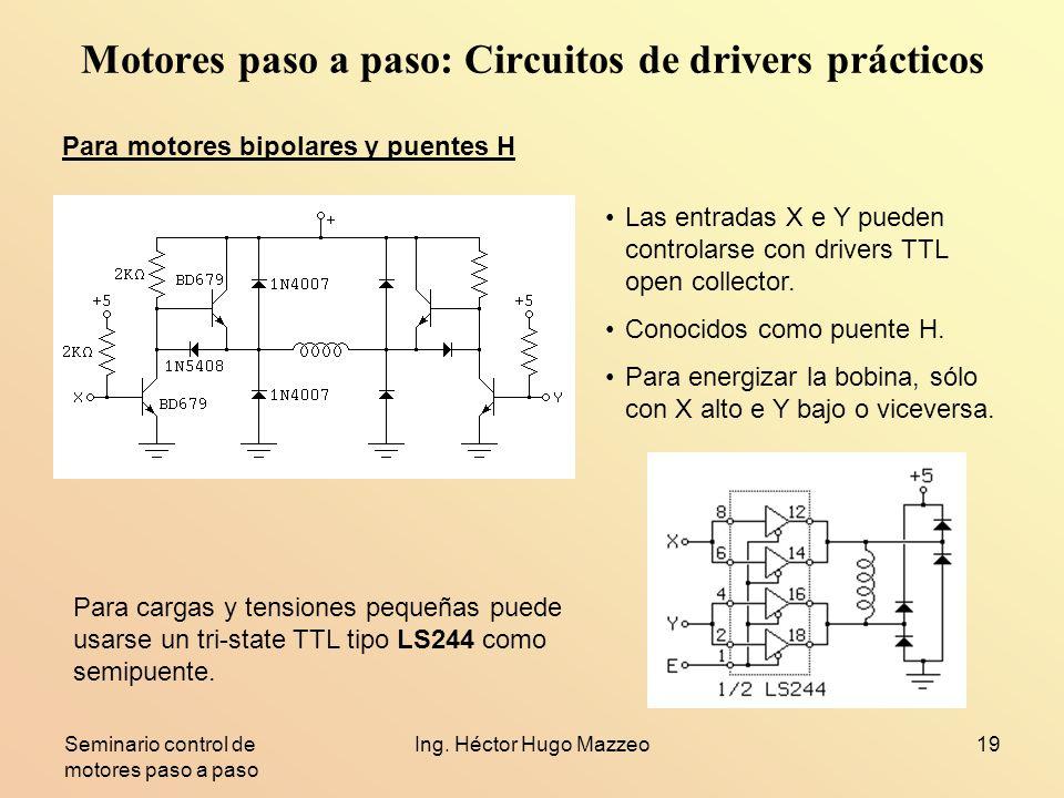 Seminario control de motores paso a paso Ing. Héctor Hugo Mazzeo19 Motores paso a paso: Circuitos de drivers prácticos Para motores bipolares y puente