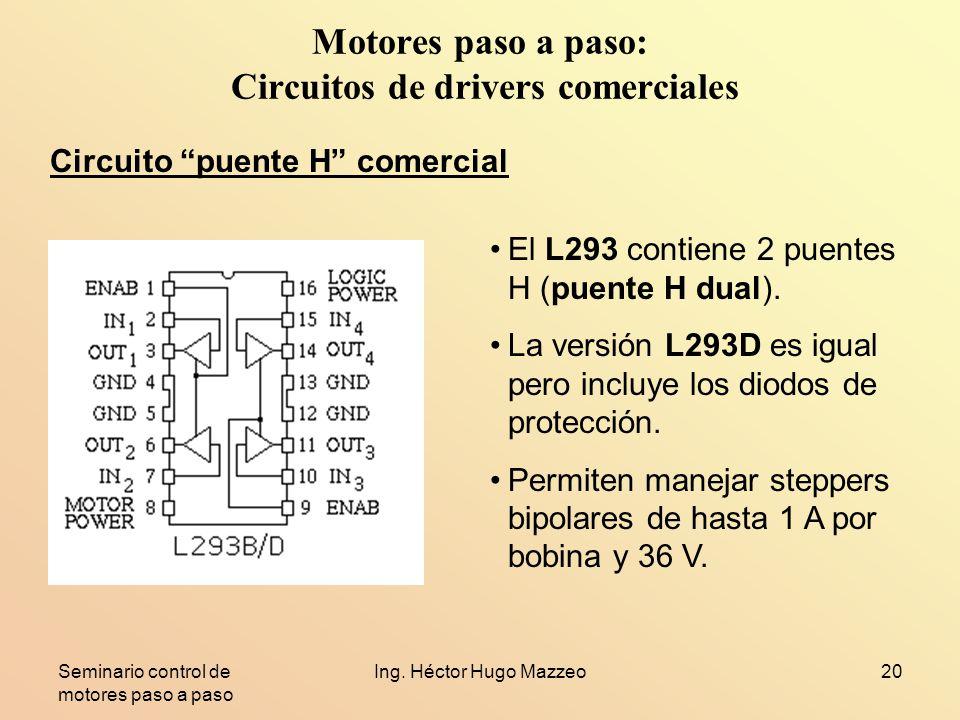 Seminario control de motores paso a paso Ing. Héctor Hugo Mazzeo20 Motores paso a paso: Circuitos de drivers comerciales Circuito puente H comercial E