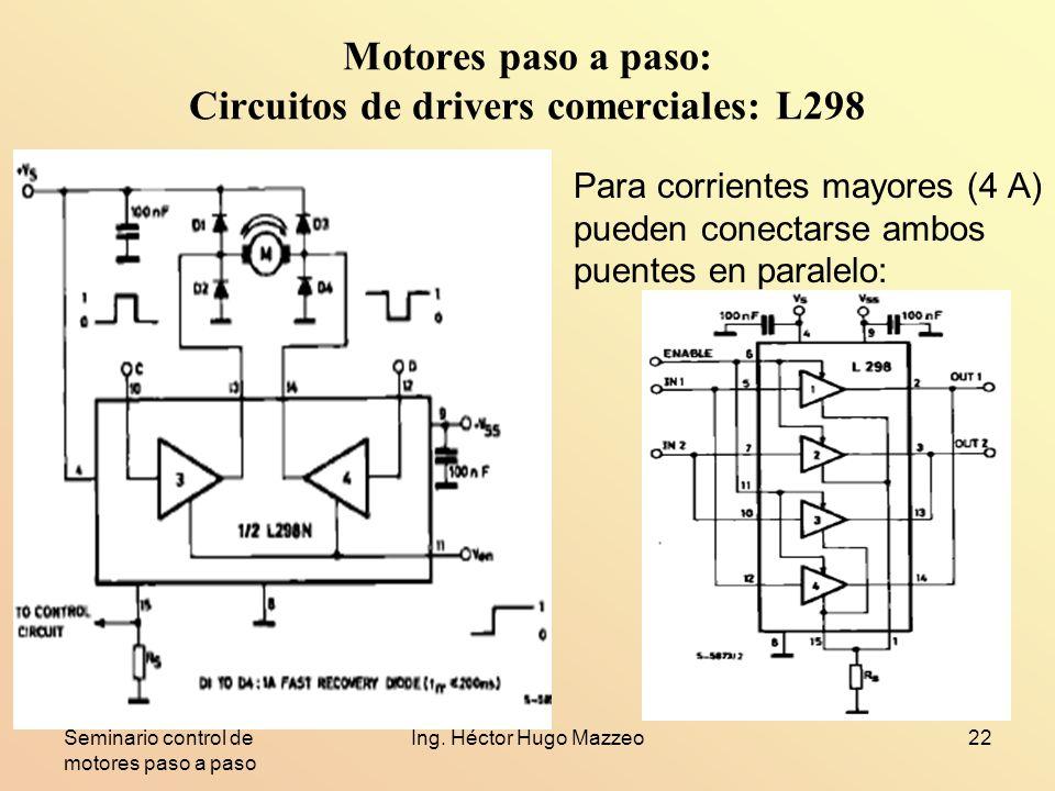 Seminario control de motores paso a paso Ing. Héctor Hugo Mazzeo22 Motores paso a paso: Circuitos de drivers comerciales: L298 Para corrientes mayores