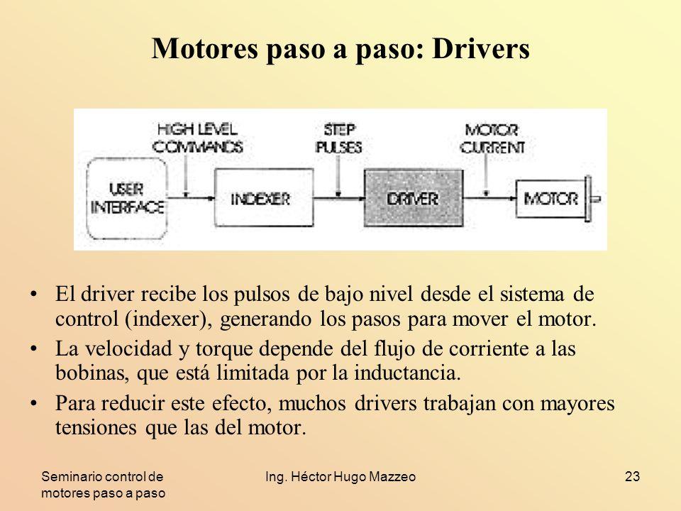 Seminario control de motores paso a paso Ing. Héctor Hugo Mazzeo23 Motores paso a paso: Drivers El driver recibe los pulsos de bajo nivel desde el sis