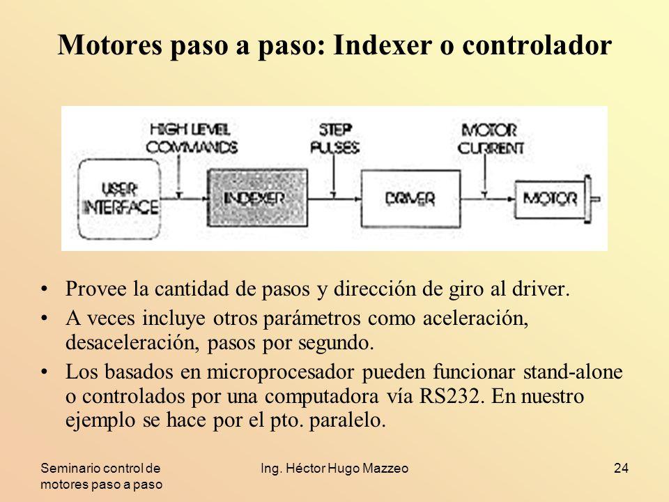 Seminario control de motores paso a paso Ing. Héctor Hugo Mazzeo24 Motores paso a paso: Indexer o controlador Provee la cantidad de pasos y dirección
