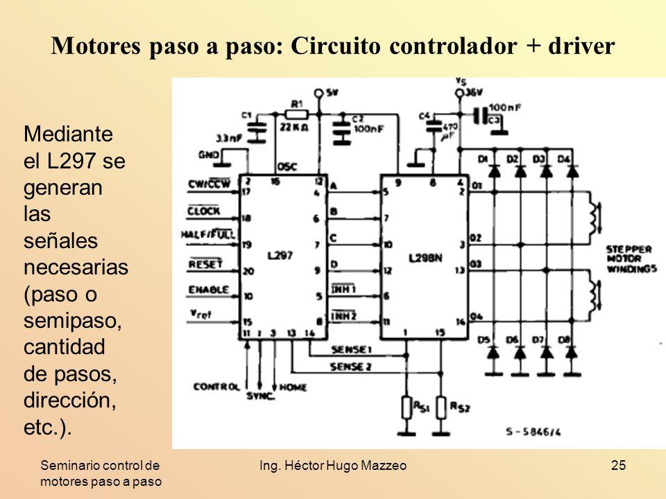 Seminario control de motores paso a paso Ing. Héctor Hugo Mazzeo25 Motores paso a paso: Circuito controlador + driver Mediante el L297 se generan las