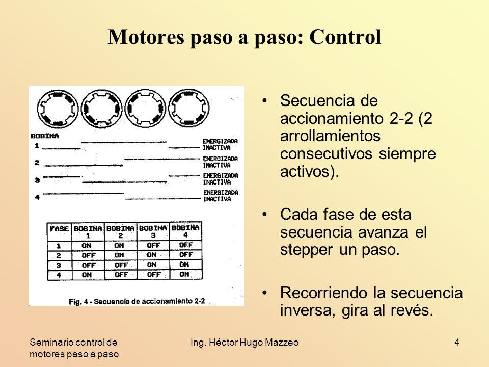 Seminario control de motores paso a paso Ing. Héctor Hugo Mazzeo4 Motores paso a paso: Control Secuencia de accionamiento 2-2 (2 arrollamientos consec