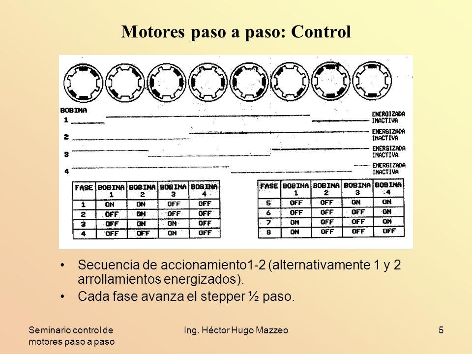 Seminario control de motores paso a paso Ing. Héctor Hugo Mazzeo5 Motores paso a paso: Control Secuencia de accionamiento1-2 (alternativamente 1 y 2 a