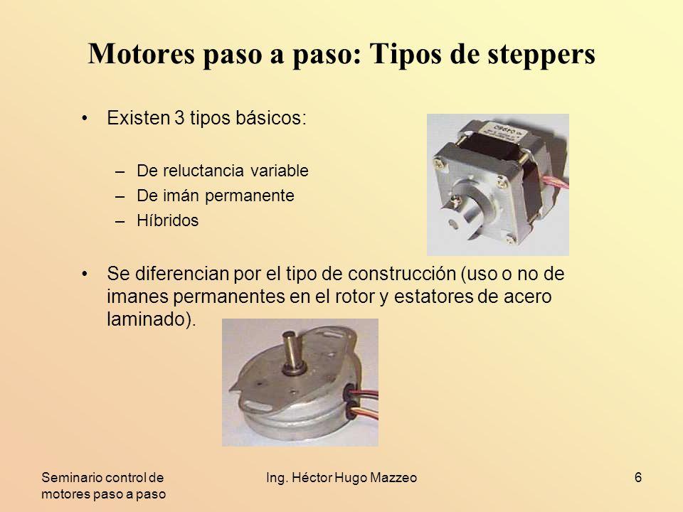 Seminario control de motores paso a paso Ing. Héctor Hugo Mazzeo6 Motores paso a paso: Tipos de steppers Existen 3 tipos básicos: –De reluctancia vari