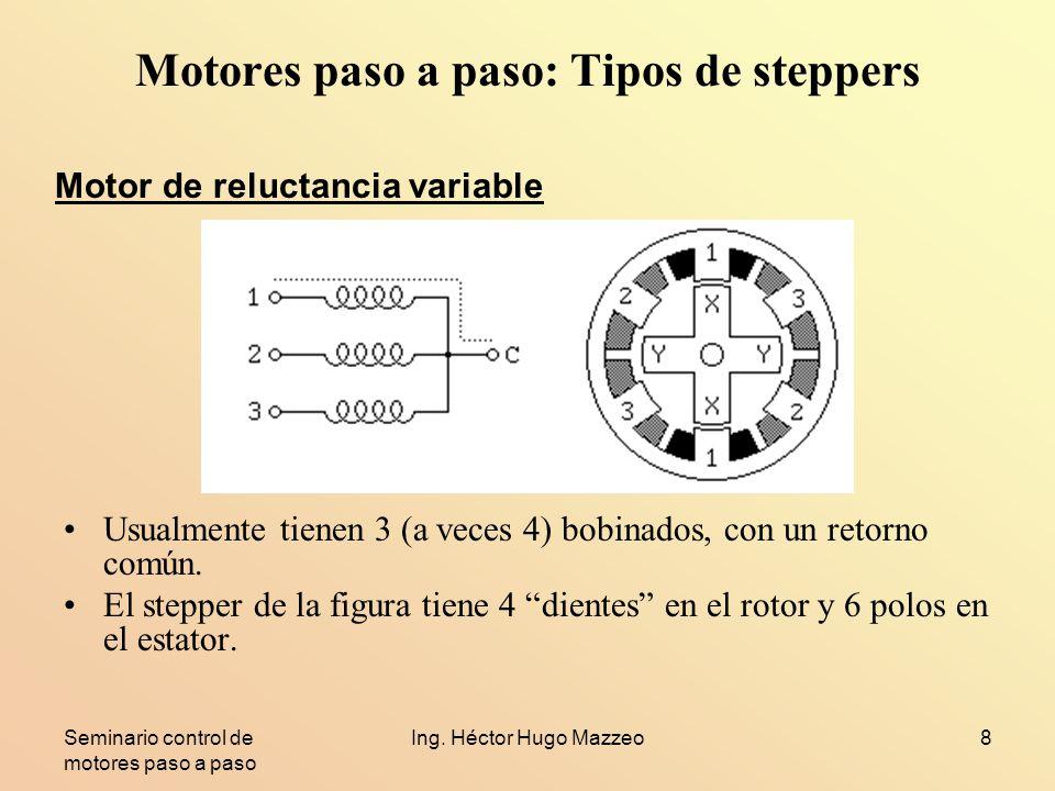 Seminario control de motores paso a paso Ing. Héctor Hugo Mazzeo8 Motores paso a paso: Tipos de steppers Usualmente tienen 3 (a veces 4) bobinados, co