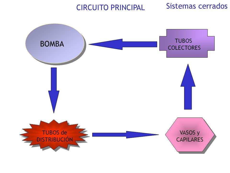 BOMBA TUBOS de DISTRIBUCIÓN VASOS y CAPILARES TUBOS COLECTORES CIRCUITO PRINCIPAL Sistemas cerrados