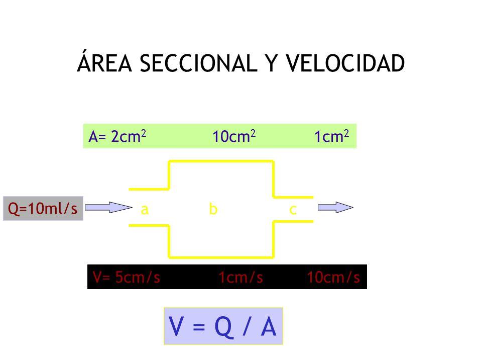 Un poco de física VELOCIDAD = DISTANCIA / TIEMPO V= D/T FLUJO = VOLUMEN / TIEMPO Q = VL/T VELOCIDAD –FLUJO - AREA V = Q/A Y EL FLUJO ES CONSTANTE!