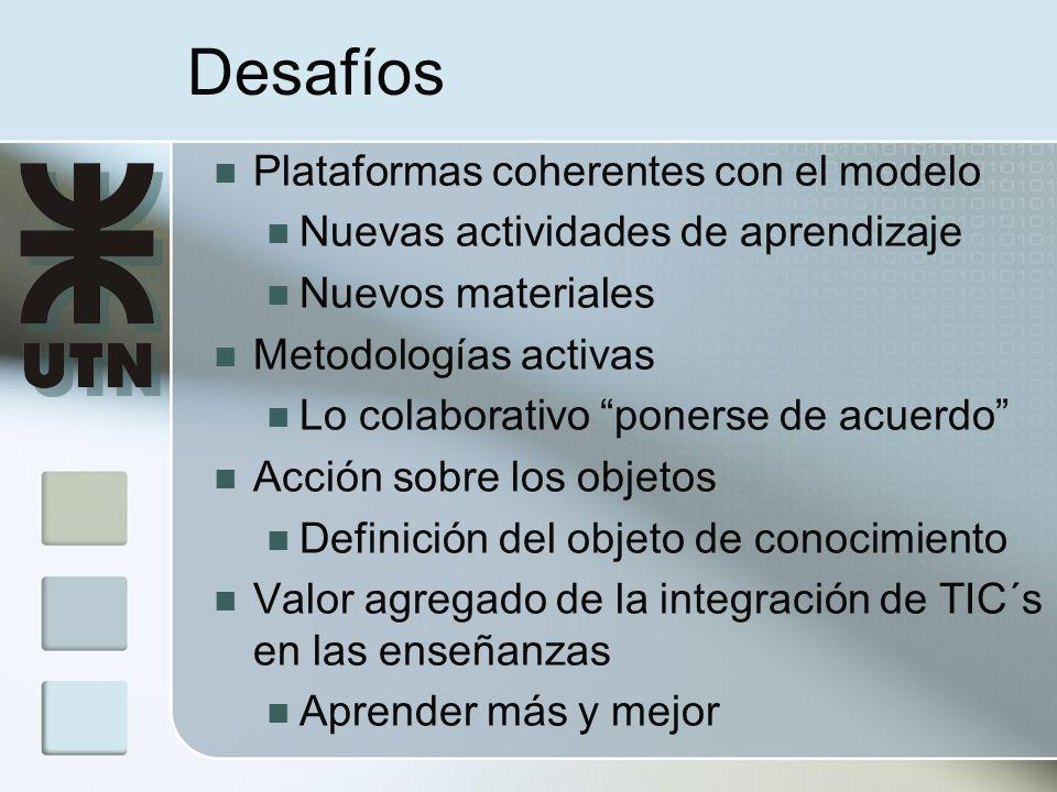 Plataformas coherentes con el modelo Nuevas actividades de aprendizaje Nuevos materiales Metodologías activas Lo colaborativo ponerse de acuerdo Acción sobre los objetos Definición del objeto de conocimiento Valor agregado de la integración de TIC´s en las enseñanzas Aprender más y mejor Desafíos