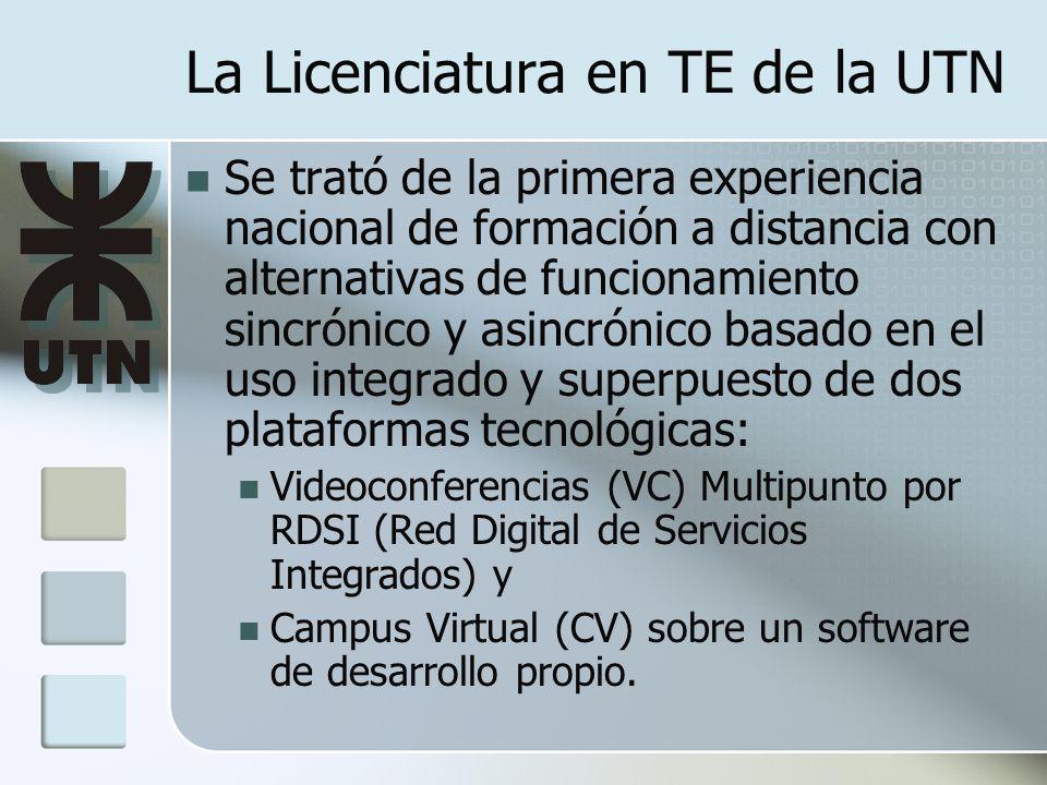 La Licenciatura en TE de la UTN Se trató de la primera experiencia nacional de formación a distancia con alternativas de funcionamiento sincrónico y asincrónico basado en el uso integrado y superpuesto de dos plataformas tecnológicas: Videoconferencias (VC) Multipunto por RDSI (Red Digital de Servicios Integrados) y Campus Virtual (CV) sobre un software de desarrollo propio.