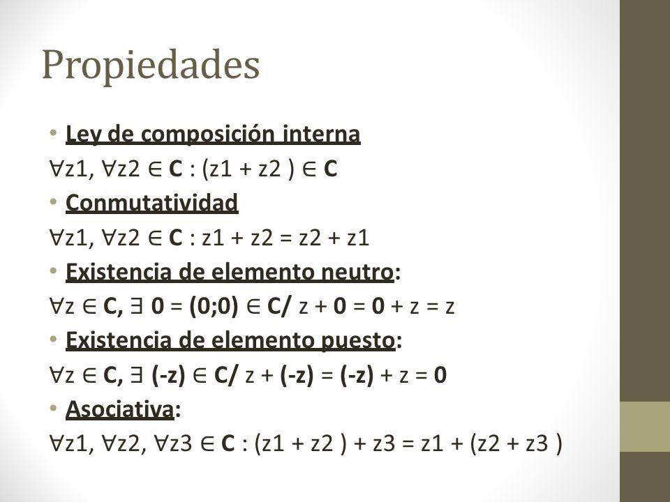 Propiedades Ley de composición interna z1, z2 C : (z1 + z2 ) C Conmutatividad z1, z2 C : z1 + z2 = z2 + z1 Existencia de elemento neutro: z C, 0 = (0;0) C/ z + 0 = 0 + z = z Existencia de elemento puesto: z C, (-z) C/ z + (-z) = (-z) + z = 0 Asociativa: z1, z2, z3 C : (z1 + z2 ) + z3 = z1 + (z2 + z3 )
