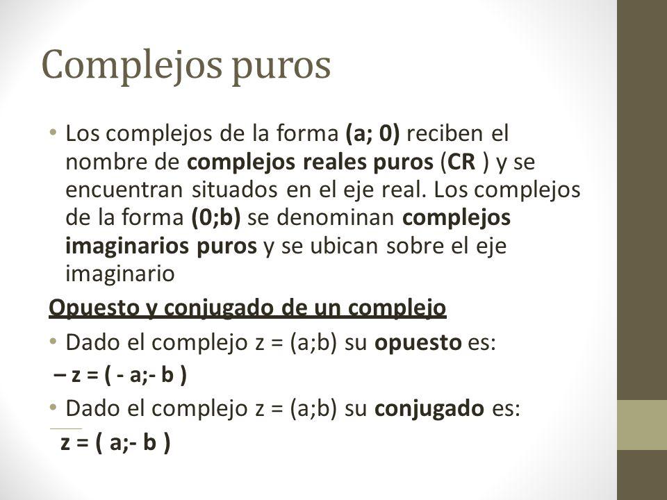 Complejos puros Los complejos de la forma (a; 0) reciben el nombre de complejos reales puros (CR ) y se encuentran situados en el eje real.