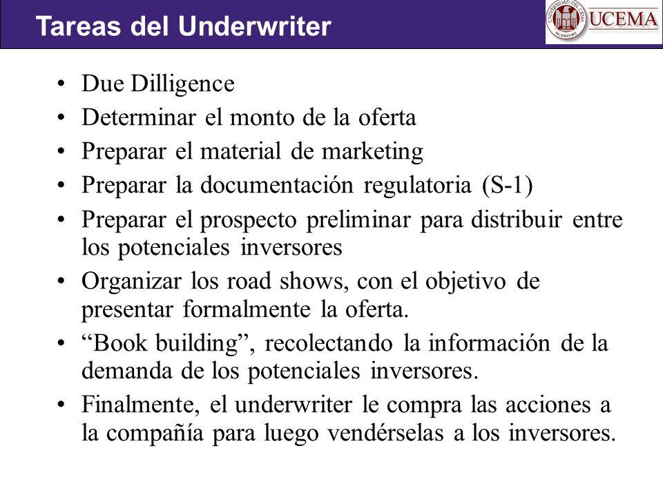 Due Dilligence Determinar el monto de la oferta Preparar el material de marketing Preparar la documentación regulatoria (S-1) Preparar el prospecto preliminar para distribuir entre los potenciales inversores Organizar los road shows, con el objetivo de presentar formalmente la oferta.