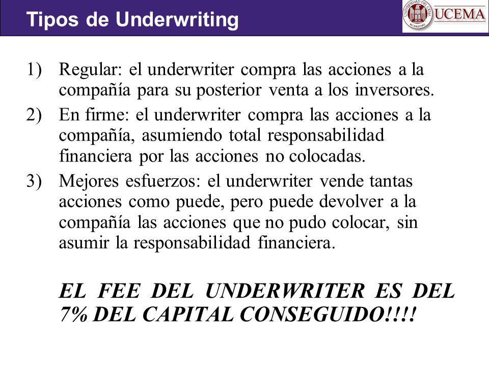 1)Regular: el underwriter compra las acciones a la compañía para su posterior venta a los inversores.
