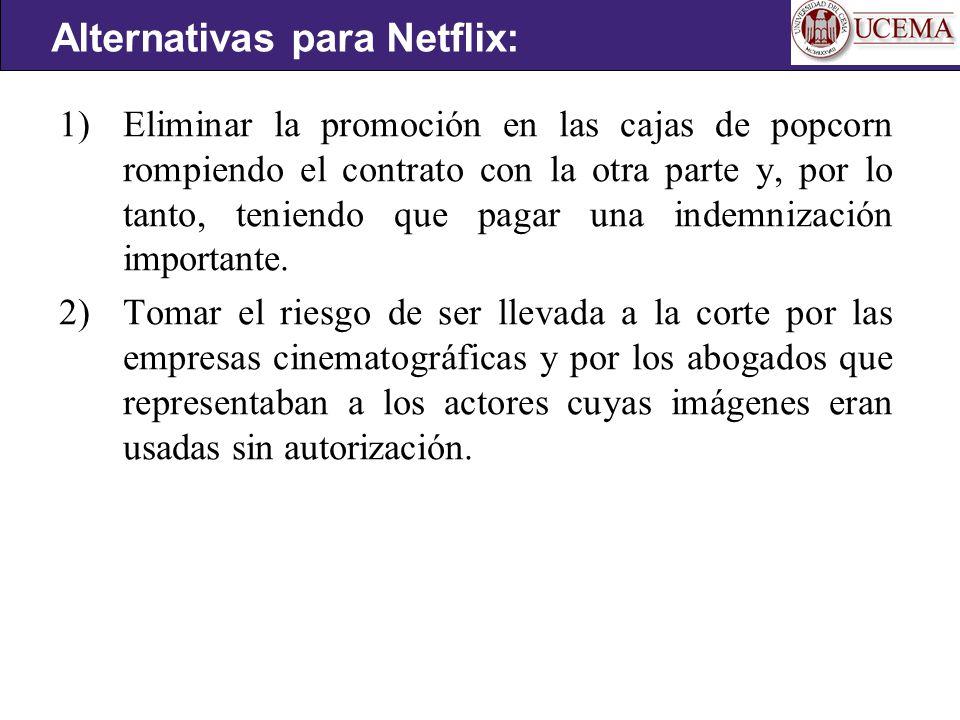 1) Eliminar la promoción en las cajas de popcorn rompiendo el contrato con la otra parte y, por lo tanto, teniendo que pagar una indemnización importante.