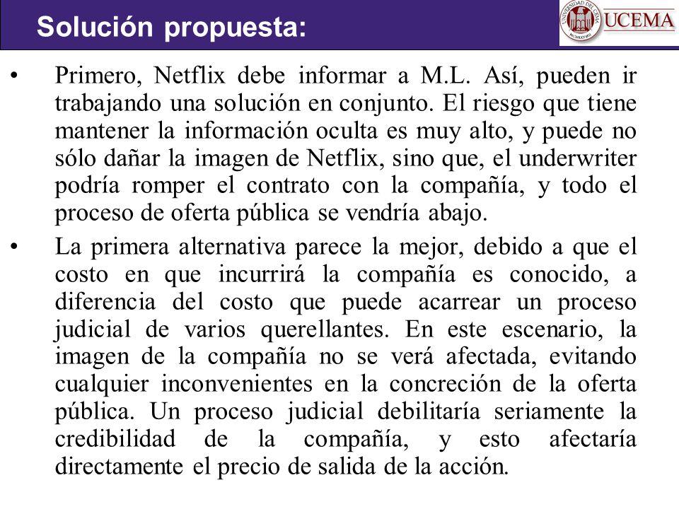 Primero, Netflix debe informar a M.L.Así, pueden ir trabajando una solución en conjunto.