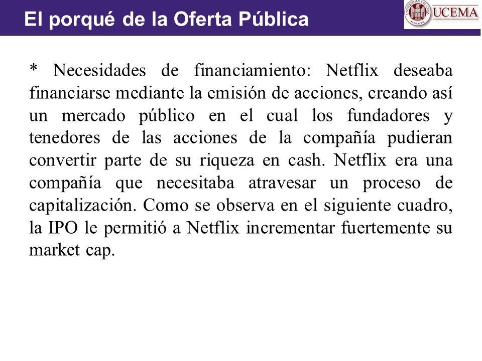 * Necesidades de financiamiento: Netflix deseaba financiarse mediante la emisión de acciones, creando así un mercado público en el cual los fundadores y tenedores de las acciones de la compañía pudieran convertir parte de su riqueza en cash.