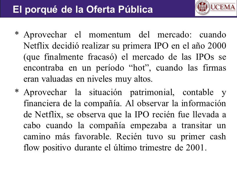 * Aprovechar el momentum del mercado: cuando Netflix decidió realizar su primera IPO en el año 2000 (que finalmente fracasó) el mercado de las IPOs se encontraba en un período hot, cuando las firmas eran valuadas en niveles muy altos.