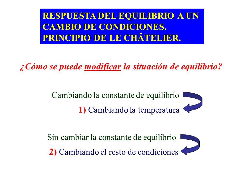 EQUILIBRIOS HETEROGÉNEOS EQUILIBRIOS HETEROGÉNEOS Aquéllos en los que las sustancias están en fases distintas CaCO 3 (s) CaO (s) + CO 2 (g) La situaci
