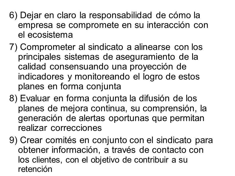 6) Dejar en claro la responsabilidad de cómo la empresa se compromete en su interacción con el ecosistema 7) Comprometer al sindicato a alinearse con
