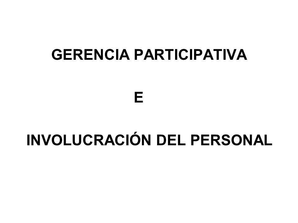 GERENCIA PARTICIPATIVA E INVOLUCRACIÓN DEL PERSONAL