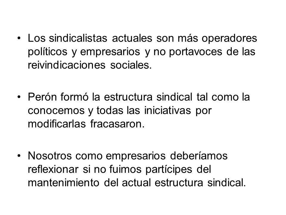 Los sindicalistas actuales son más operadores políticos y empresarios y no portavoces de las reivindicaciones sociales. Perón formó la estructura sind