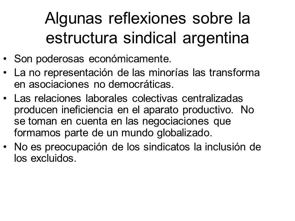 Algunas reflexiones sobre la estructura sindical argentina Son poderosas económicamente. La no representación de las minorías las transforma en asocia