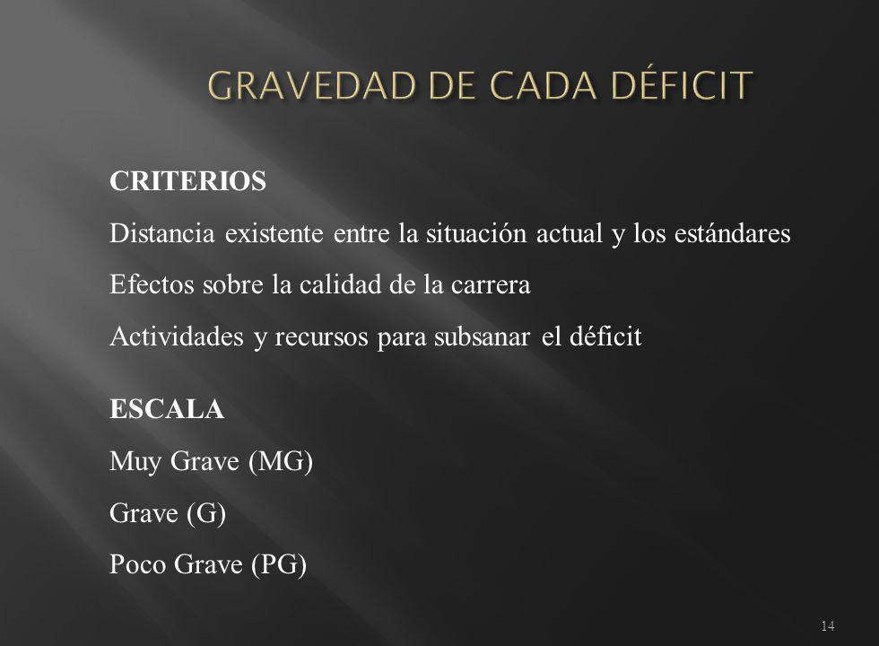 14 CRITERIOS Distancia existente entre la situación actual y los estándares Efectos sobre la calidad de la carrera Actividades y recursos para subsanar el déficit ESCALA Muy Grave (MG) Grave (G) Poco Grave (PG)