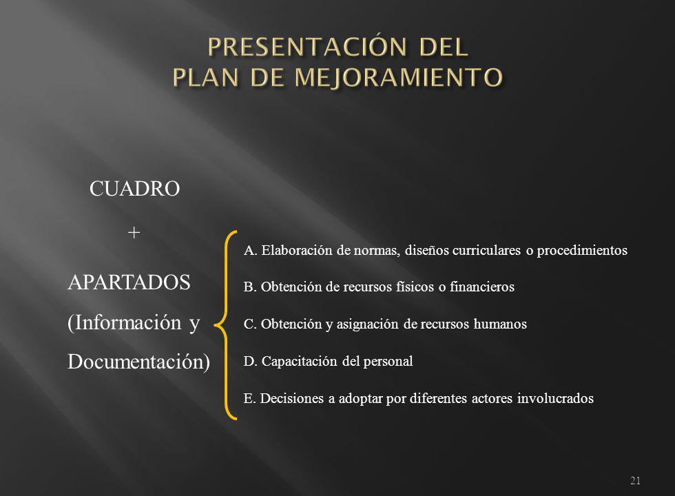 21 CUADRO APARTADOS (Información y Documentación) A.