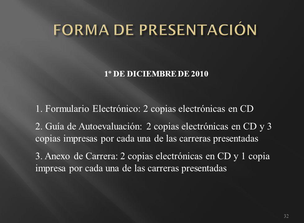 32 1º DE DICIEMBRE DE 2010 1. Formulario Electrónico: 2 copias electrónicas en CD 2.