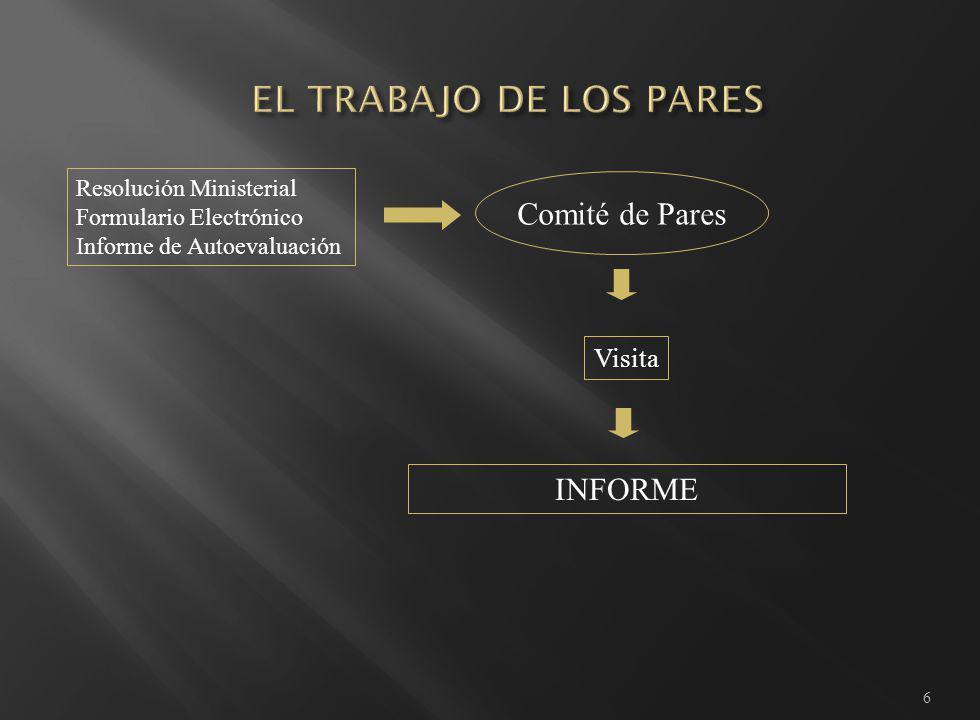 6 Resolución Ministerial Formulario Electrónico Informe de Autoevaluación Comité de Pares Visita INFORME