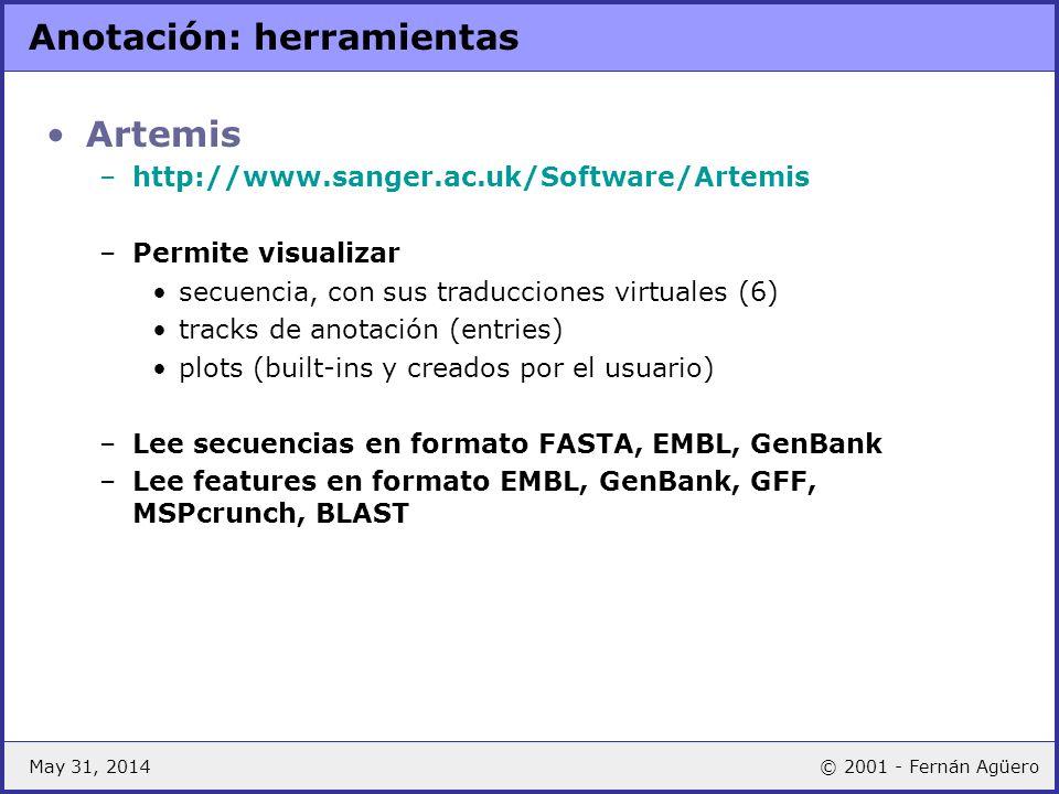 May 31, 2014© 2001 - Fernán Agüero Anotación: herramientas Artemis –http://www.sanger.ac.uk/Software/Artemis –Permite visualizar secuencia, con sus tr