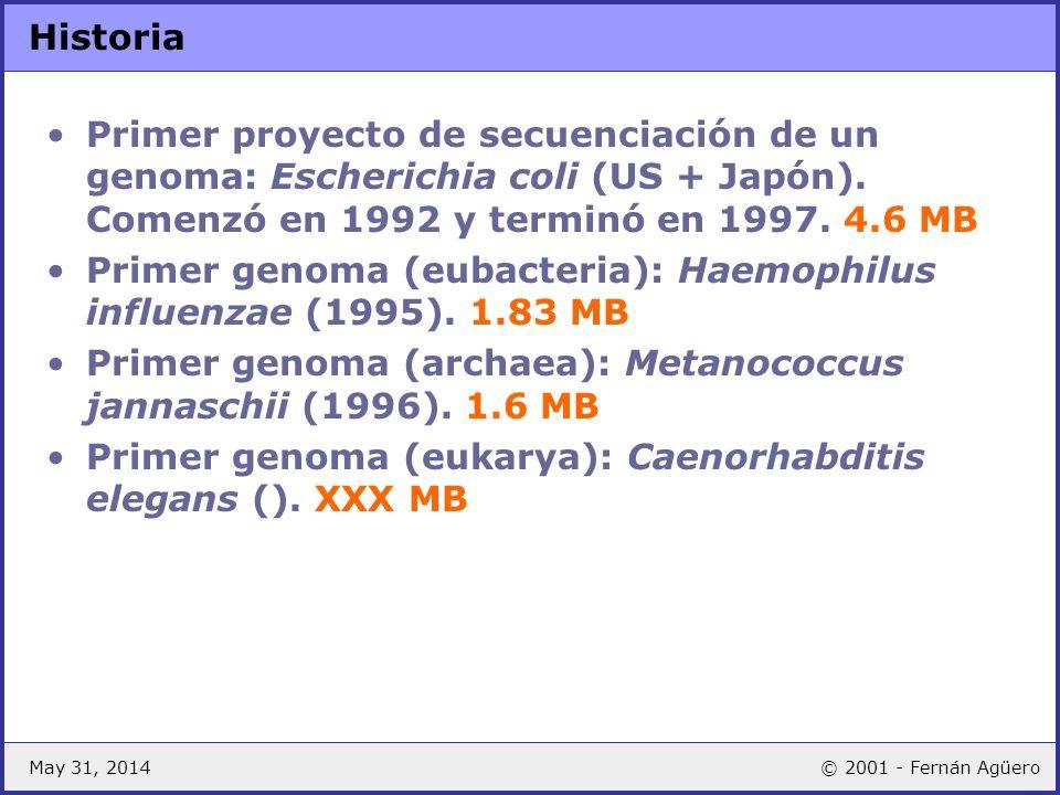 May 31, 2014© 2001 - Fernán Agüero Historia Primer proyecto de secuenciación de un genoma: Escherichia coli (US + Japón). Comenzó en 1992 y terminó en