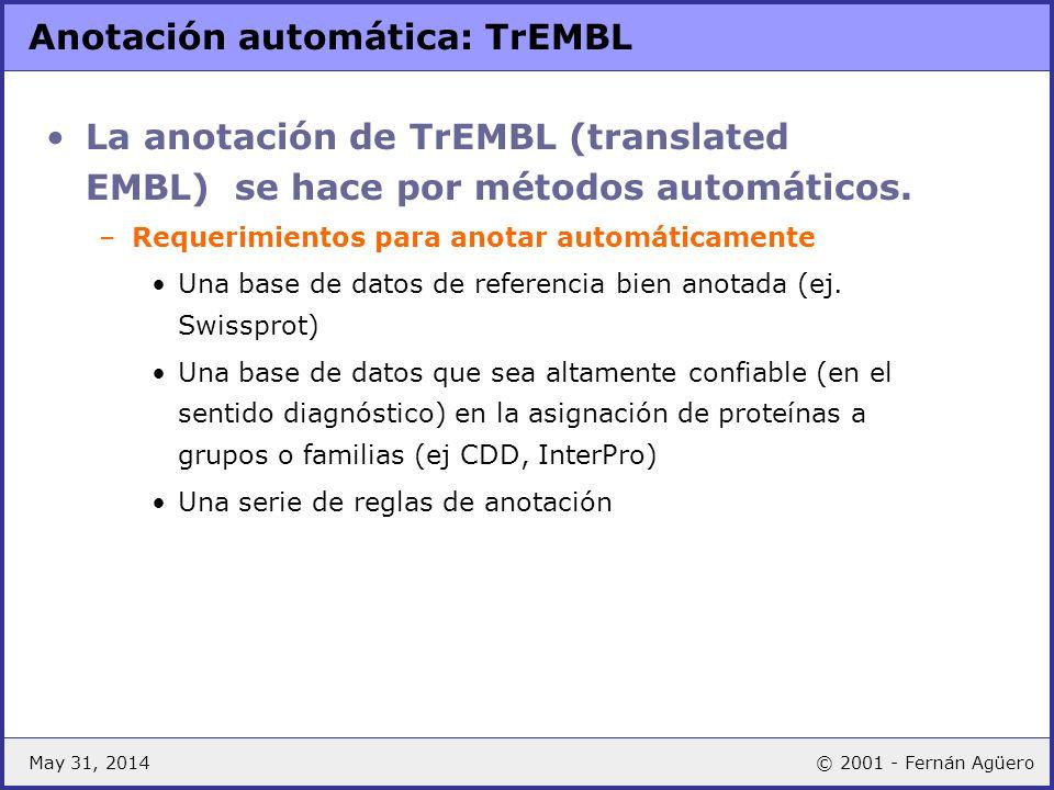 May 31, 2014© 2001 - Fernán Agüero Anotación automática: TrEMBL La anotación de TrEMBL (translated EMBL) se hace por métodos automáticos. –Requerimien