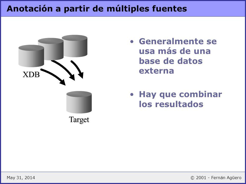 May 31, 2014© 2001 - Fernán Agüero Anotación a partir de múltiples fuentes Generalmente se usa más de una base de datos externa Hay que combinar los r