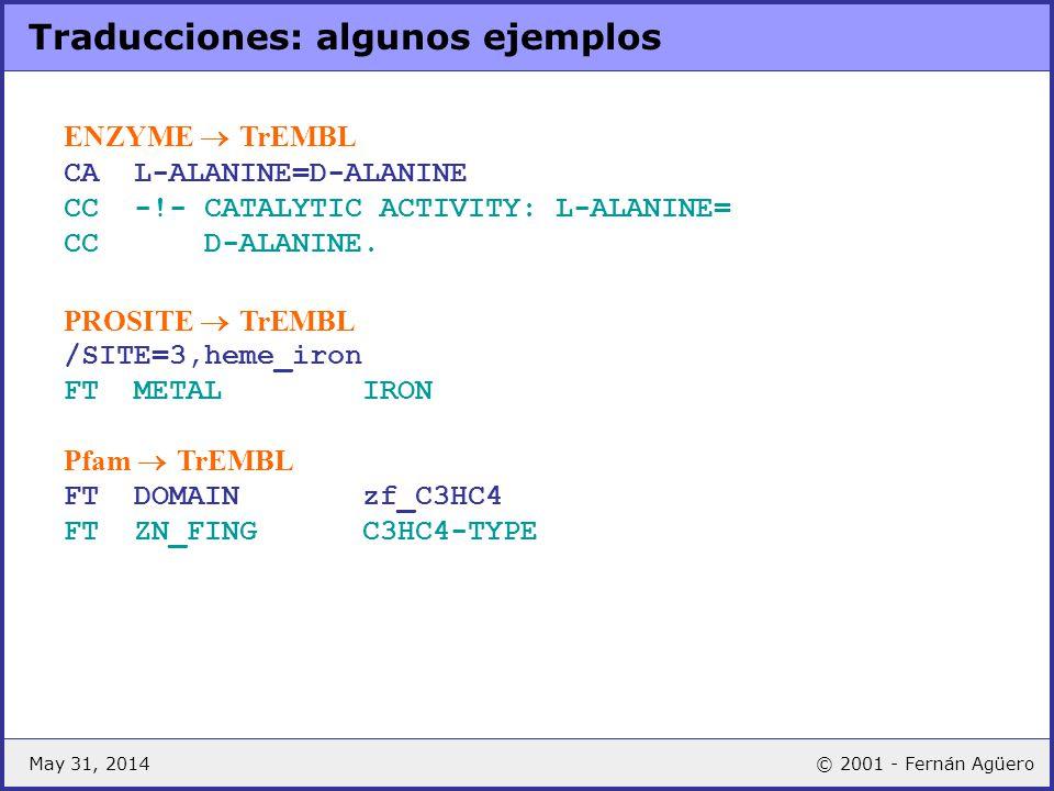 May 31, 2014© 2001 - Fernán Agüero Traducciones: algunos ejemplos ENZYME TrEMBL CA L-ALANINE=D-ALANINE CC -!- CATALYTIC ACTIVITY: L-ALANINE= CC D-ALAN