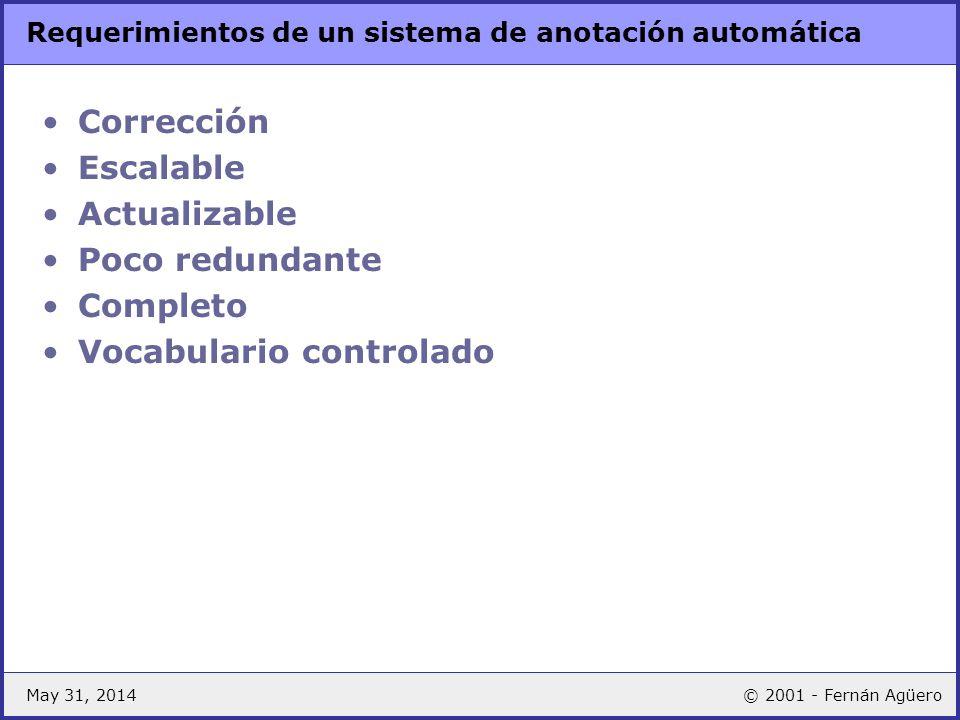 May 31, 2014© 2001 - Fernán Agüero Requerimientos de un sistema de anotación automática Corrección Escalable Actualizable Poco redundante Completo Voc