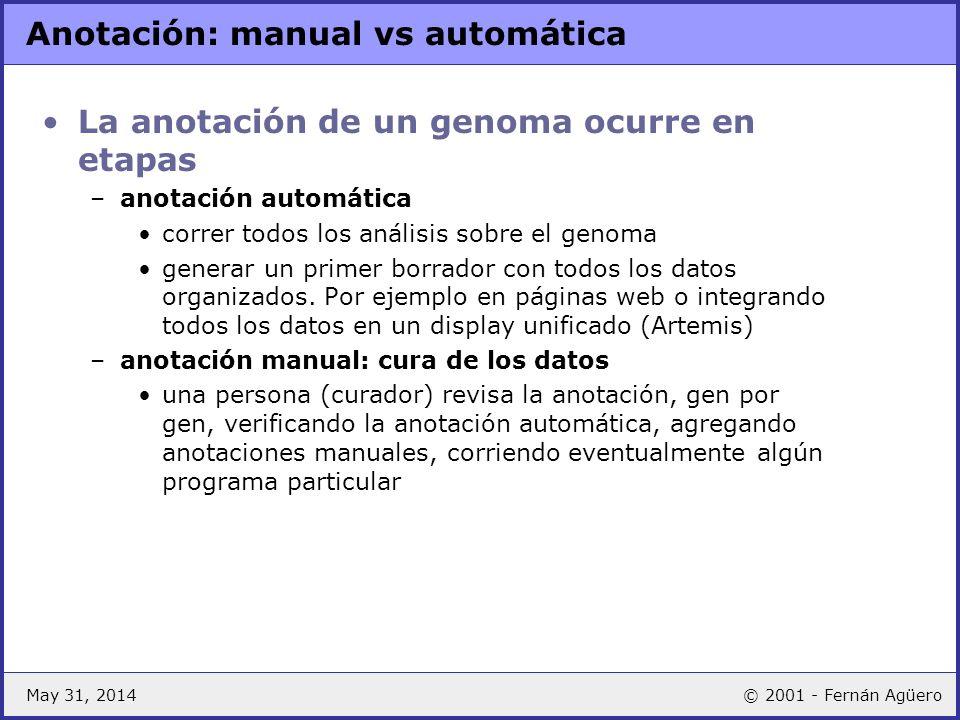 May 31, 2014© 2001 - Fernán Agüero Anotación: manual vs automática La anotación de un genoma ocurre en etapas –anotación automática correr todos los a