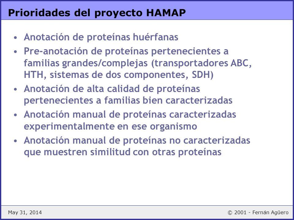 May 31, 2014© 2001 - Fernán Agüero Prioridades del proyecto HAMAP Anotación de proteínas huérfanas Pre-anotación de proteínas pertenecientes a familia
