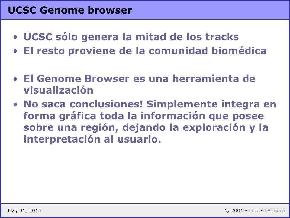 May 31, 2014© 2001 - Fernán Agüero UCSC Genome browser UCSC sólo genera la mitad de los tracks El resto proviene de la comunidad biomédica El Genome B