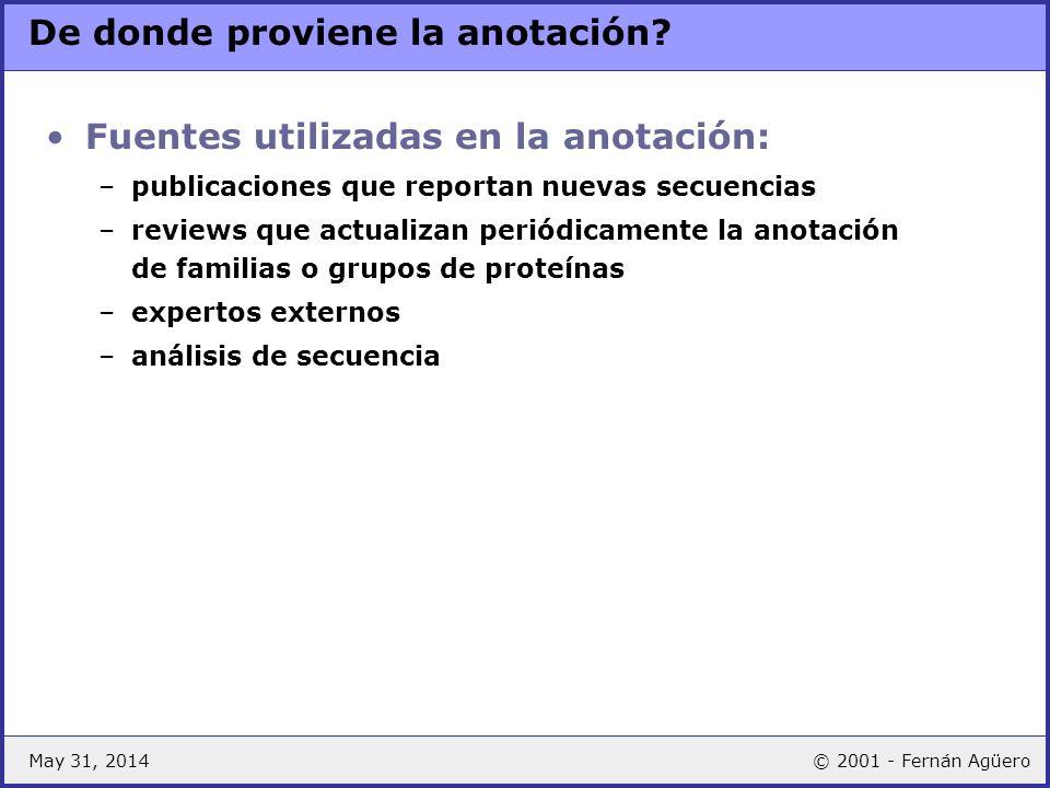 May 31, 2014© 2001 - Fernán Agüero Traducciones: algunos ejemplos ENZYME TrEMBL CA L-ALANINE=D-ALANINE CC -!- CATALYTIC ACTIVITY: L-ALANINE= CC D-ALANINE.
