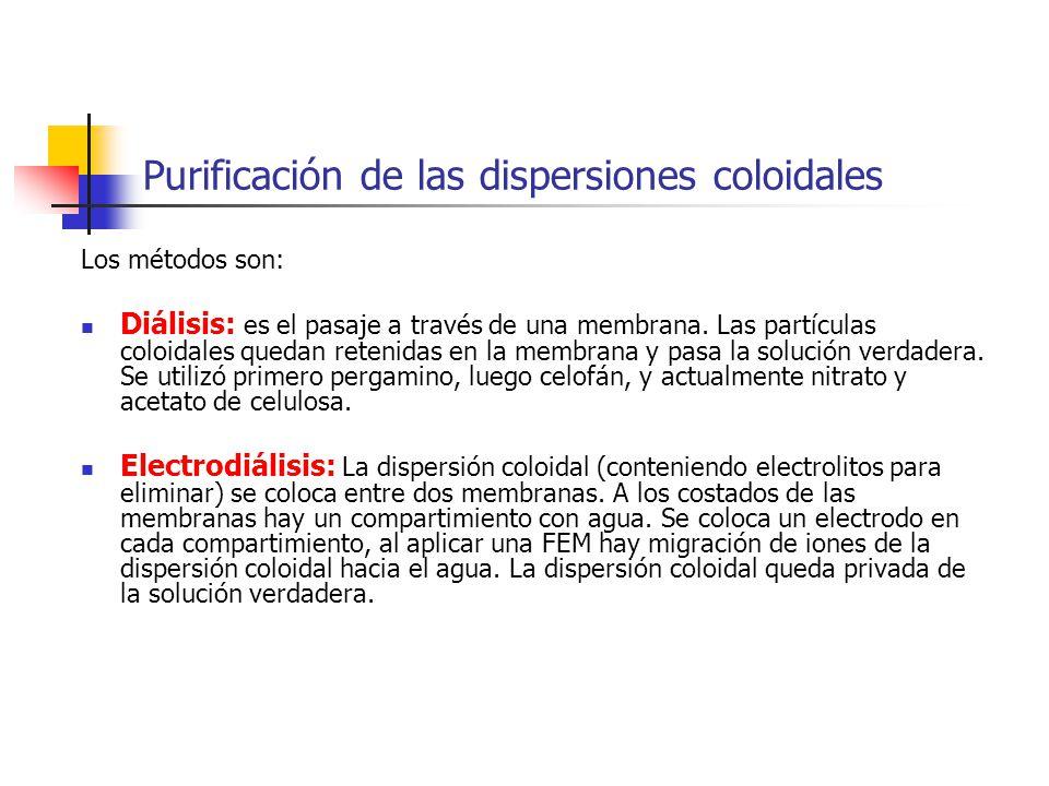 Purificación de las dispersiones coloidales Los métodos son: Diálisis: es el pasaje a través de una membrana. Las partículas coloidales quedan retenid