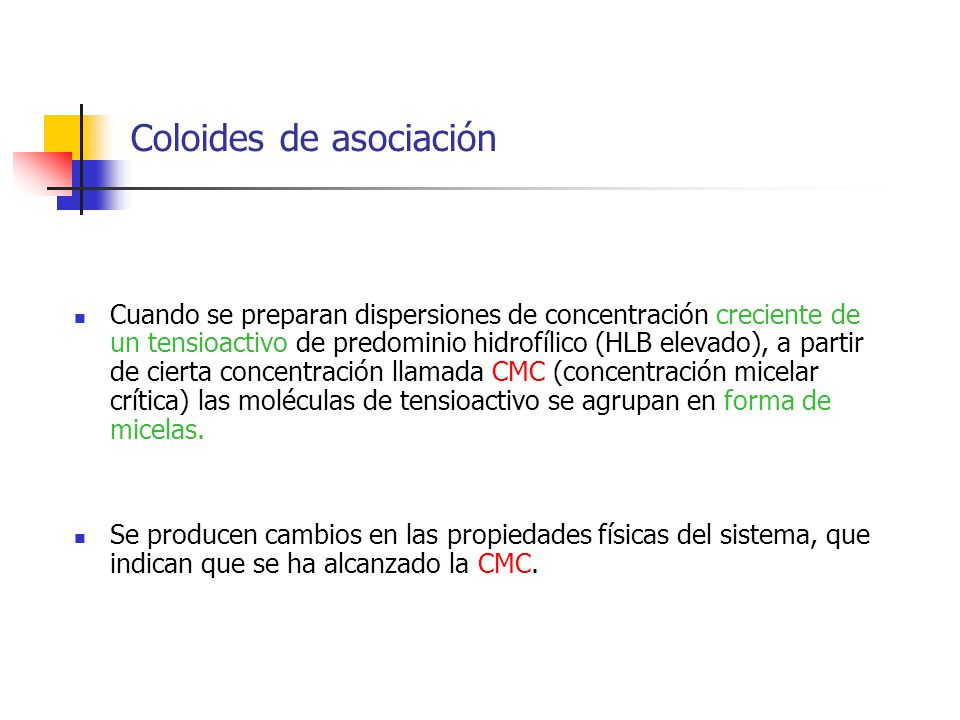 Coloides de asociación Cuando se preparan dispersiones de concentración creciente de un tensioactivo de predominio hidrofílico (HLB elevado), a partir